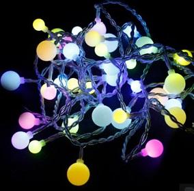 """CL55, гирлянда """"шарики"""", цвет пластика - белый, цвет свечения - мультиколор"""