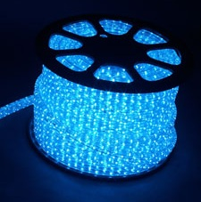 Четырехжильный дюралайт светодиодный, 4W 50м 230V 108LED/м 11х22мм, синий, LED-F4W