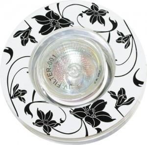 CD2035, светильник потолочный, MR16 G5.3 белый фон - черный рисунок, с лампой