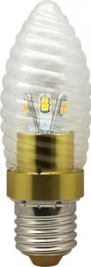 LB-77, лампа светодиодная, 6LED(3.5W) 230V E27 6400K свеча золото