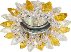 CD2315, светильник потолочный, MR16 G5.3 с прозрачным-желтым стеклом, хром, с лампой