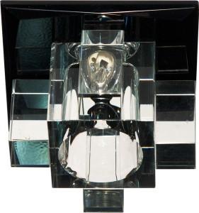 1525, светильник потолочный, JCD9 G9 с черным стеклом, с лампой