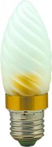 LB-77, лампа светодиодная, 6LED(3.5W) 230V E27 6400K свеча матовая золото