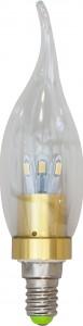 LB-71, лампа светодиодная, 6LED(3.5W) 230V E14 6400K свеча на ветру золото