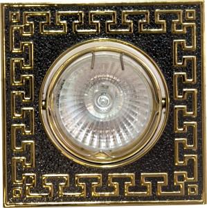 """2008SDL, светильник потолочный,  MR16 50W G5.3 """"квадрат"""" черный металлик-золото"""