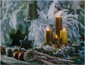 """LT115 Световая новогодняя картина на батарейках с внутренней подсветкой """"Золотые свечи"""""""