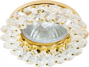 CD4141, светильник потолочный, MR16 G5.3 с прозрачным стеклом, золото, с лампой