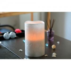 FL065,  светодиодная свеча цилиндр, серебро