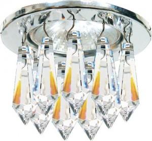 """DL4160, светильник потолочный, JCDR G5.3 с прозрачными подвесками """"египетский кристалл"""", хром, c лампой"""