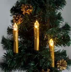 """LT120 Новогоднее украшение на батарейках на ёлку """"Свечи"""" на прищепках"""