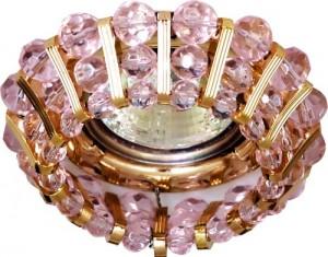 CD2121, светильник потолочный, JCDR G5.3 с  розовым стеклом, золото, с лампой