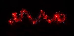"""CL404, гирлянда """"мишура"""", цвет свечения - красный, работает от батареек"""