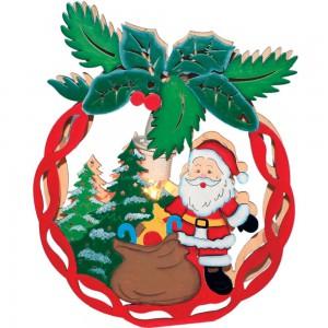 "LT084, деревянная световая фигура ""Новогодний шар с Санта-Клаусом"""