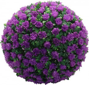 E5209, садовый подвесной цветок-светильник «Цветочный шар», фиолетовый, 20 LED (белый), D 28 см