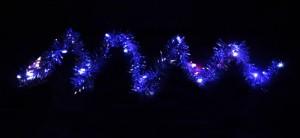 """CL404, гирлянда """"мишура"""", цвет свечения - синий, работает от батареек"""