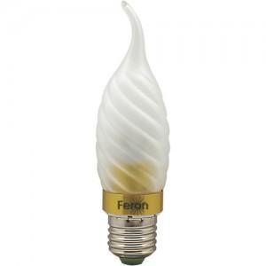 LB-78, лампа светодиодная, 6LED(3.5W) 230V E27 6400K свеча на ветру матовая золото