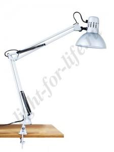 DE1410, настольная лампа на струбцине, ESB 9W 230V Е27 серебро c лампой