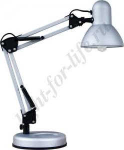 DE1412, настольный светильник, ESB 9W 230V E27 серебро с лампой