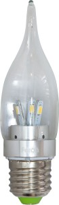 LB-71, лампа светодиодная, 6LED(3.5W) 230V E27 4000K свеча на ветру хром