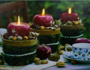 """LT117 Световая новогодняя картина на батарейках с внутренней подсветкой """"Красные свечи"""""""