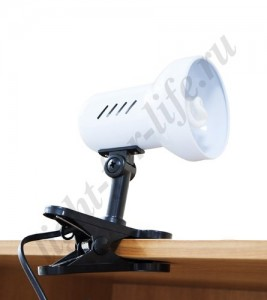 DE1600, светильник на прищепке, ESB 9W 230V Е27 белый c лампой