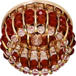 CD2119, светильник потолочный, JCD9 G9 с прозрачным и красным стеклом, золото, с лампой