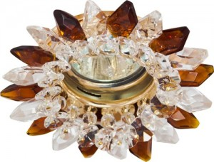 CD2315, светильник потолочный, MR16 G5.3 с прозрачным-коричневым стеклом, золото, с лампой