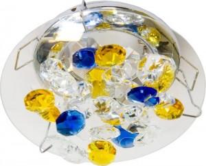 CD4204, светильник потолочный, MR16 50W G5.3 желтый-голубой-прозрачный, хром (с лампой)