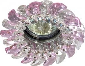 CD2316, светильник потолочный, MR16 G5.3 с прозрачным-розовым стеклом, хром, с лампой