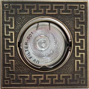 """2008SDL, светильник потолочный, 2008SDL MR16 50W G5.3 """"квадрат"""" античная медь"""
