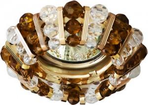 CD2121, светильник потолочный, MR16 G5.3 с прозрачным и  коричневым стеклом, золото, с лампой