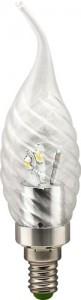 LB-78, лампа светодиодная, 6LED(3.5W) 230V E14 4000K свеча на ветру хром