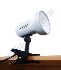 DE1600, светильник на прищепке, ESB 9W 230V Е27 серебро c лампой