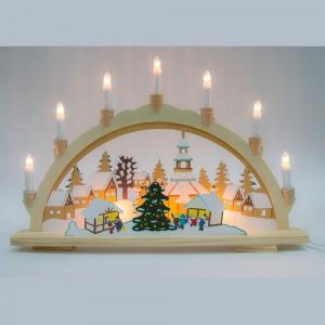 LT082, деревянное световое панно со свечами и ёлками