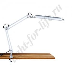 DE1210, настольная лампа на струбцине, ESТ 11W 230V 2G7 серебро с лампой