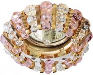 CD2121, светильник потолочный, MR16 G5.3 с прозрачным и  розовым стеклом, золото, с лампой