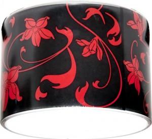 CD2037, светильник потолочный,  черный фон - красный рисунок, с лампой