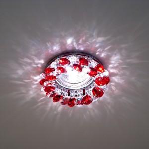 CD4141, светильник потолочный, JCDR G5.3 с красным стеклом, хром, с лампой