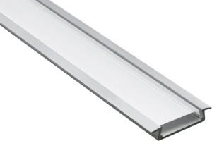 """CAB252,  профиль """"встраиваемый"""" широкий серебро, 2м (в комплекте 2 заглушки)"""