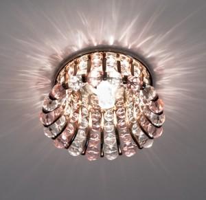 CD2120, светильник потолочный, JCD9 G9 с прозрачным и розовым стеклом, золото, с лампой