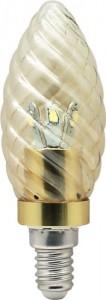 LB-77, лампа светодиодная, 6LED(3.5W) 230V E14 4000K свеча золотая золото