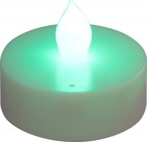 """FL075, светодиодная свеча """"таблетка"""", зеленый"""