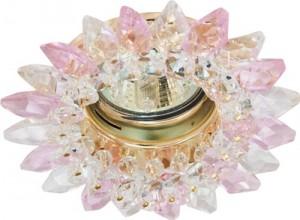 CD2315, светильник потолочный, MR16 G5.3 с прозрачным-розовым стеклом, золото, с лампой