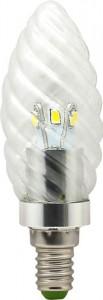 LB-77, лампа светодиодная, 6LED(3.5W) 230V E14 4000K свеча хром