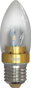 LB-70, лампа светодиодная, 6LED(3.5W) 230V E27 6400K свеча золото