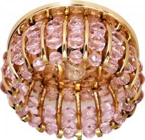 CD2119, светильник потолочный, JCD9 G9 с розовым стеклом, золото, с лампой