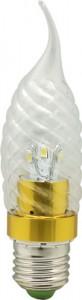 LB-78, лампа светодиодная, 6LED(3.5W) 230V E27 6400K свеча на ветру золото