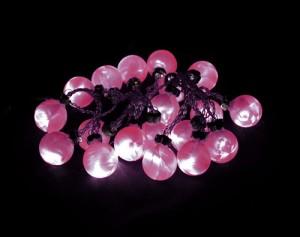 """CL550, гирлянда """"шарики"""", цвет стекла - красный, диаметр 30мм, работает от батареек"""