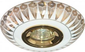 С2727,  светильник потолочный встраиваемый, MR16 12V G5.3 золото,белый