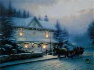 """LT119, световое панно из стекловолокна """"Домик в снегу"""""""